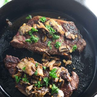Cast Iron New York Strip with Mushrooms