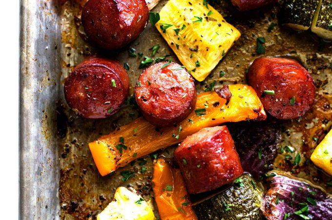 One Pan Smoked Sausage with Potatoes and Veggies- One pan + smoked sausage + potatoes + veggies = delicious and easy weeknight meal. Yeeees! | sodamndelish.com