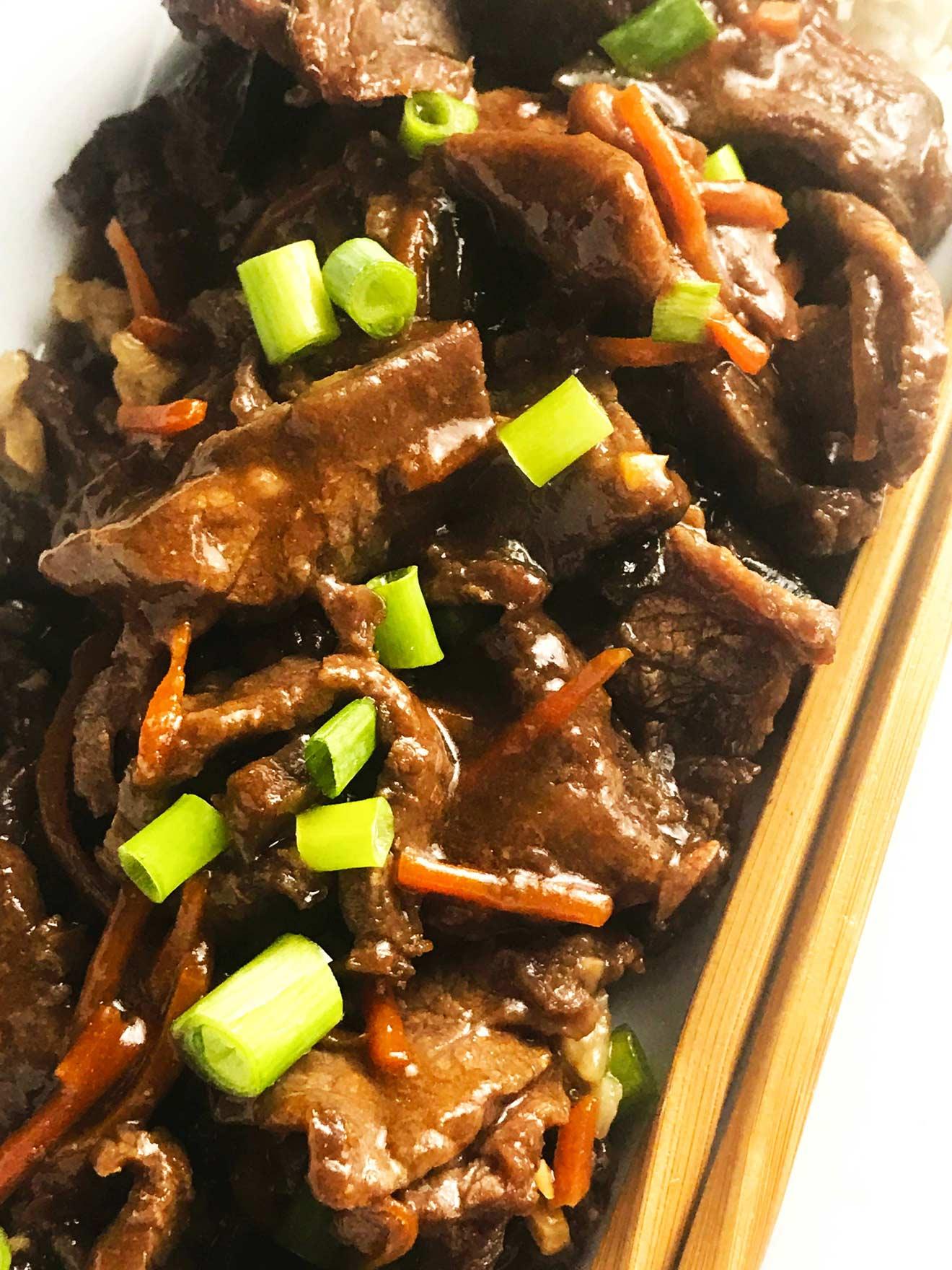 Easy Slow Cooker Mongolian Beef • So Damn Delish