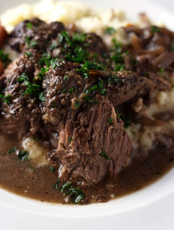 One Pot Red Wine Braised Beef Roast with Carrots, Onions, and Garlic
